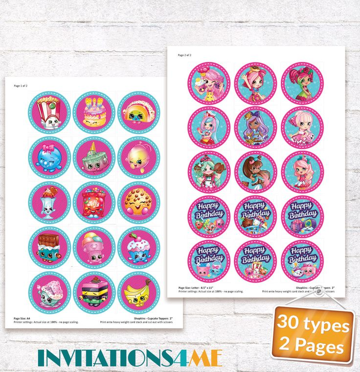 Shopkins Cupcake Toppers Shopkins Favor Labels Shopkins Birthday Party Stickers with matching Invitation Customized Digital File by INVITATIONS4ME on Etsy