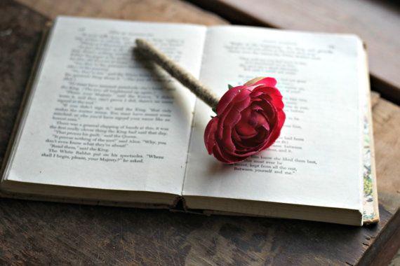 Rustic Guest Book Pen Hot Pink Ranunculus by LazyLightningArt, $10.00