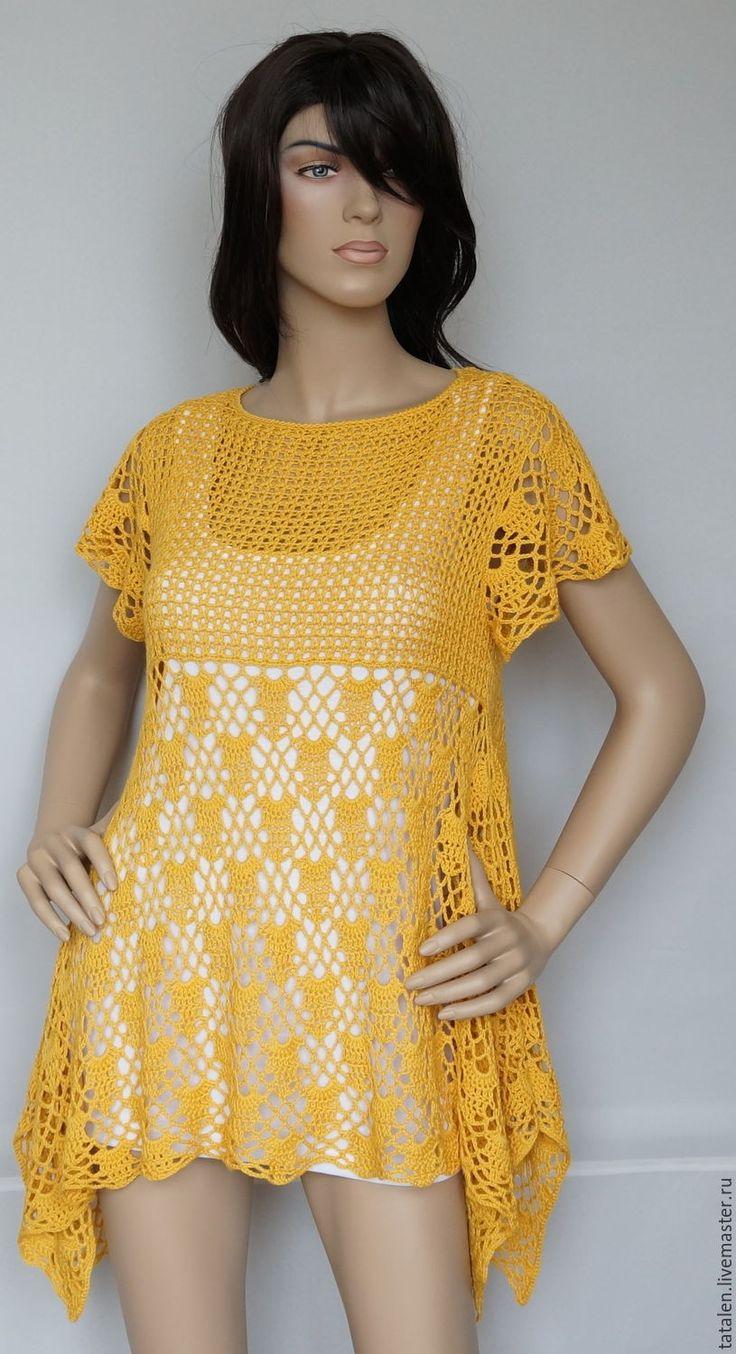 """Купить Пуловер хлопок-бамбук """"Подсолнух"""" - желтый, однотонный, Авторский дизайн, пуловер вязаный"""