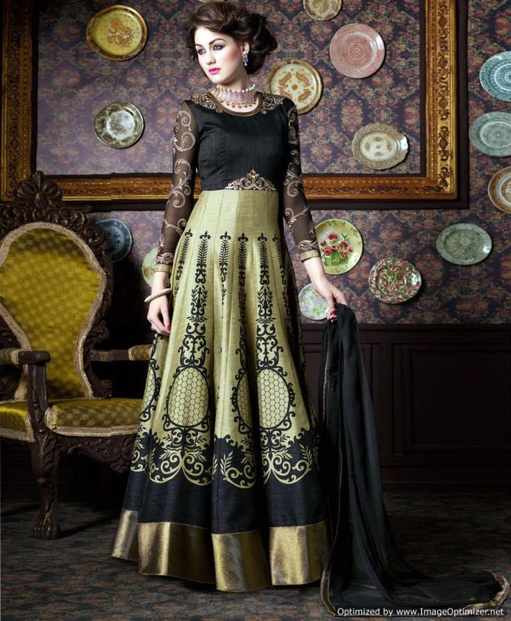 #Black #Golden Digital Print #Silk Anarkali Suit » Shoppers99 #anarkalisuits #anarkalisuit #anarkalidress #eid #floorlengthanarkali #wedding #partywear