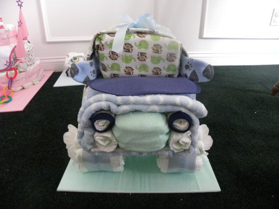 Large 4X4 Diaper Truck by Rondasbabygifts on Etsy, $75.00