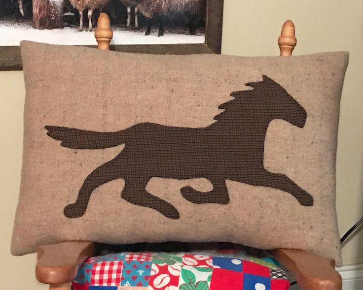 Hand Wool Appliqué, Horse Pillow, Wool Horse, Running Horse, Equine Pillow, Horse Silhouette, Horse Toss Pillow, Horse Decor by thehelms5 on Etsy
