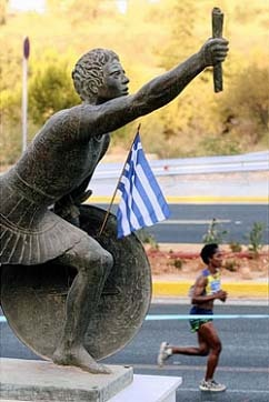 Did you know? The #marathon commemorates the #run of the soldier Pheidippides from Marathon, Greece, to Athens in 490 B.C, which was 40K (24.8 mi.). The distance was permanently increased at the 1908 London Olympics, so the race could finish in front of the royal family's viewing box at White City stadium.