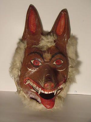 Vintage Antique Halloween Werewolf Mask Wolf Paper Mache Homemade | eBay