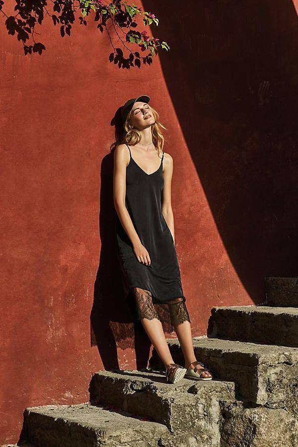 Laced-Hem Slip Dress