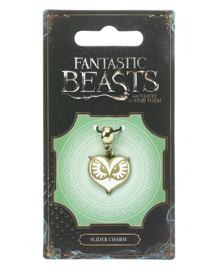 Fantastic Beasts Owl Slider Charm Jewelry on card