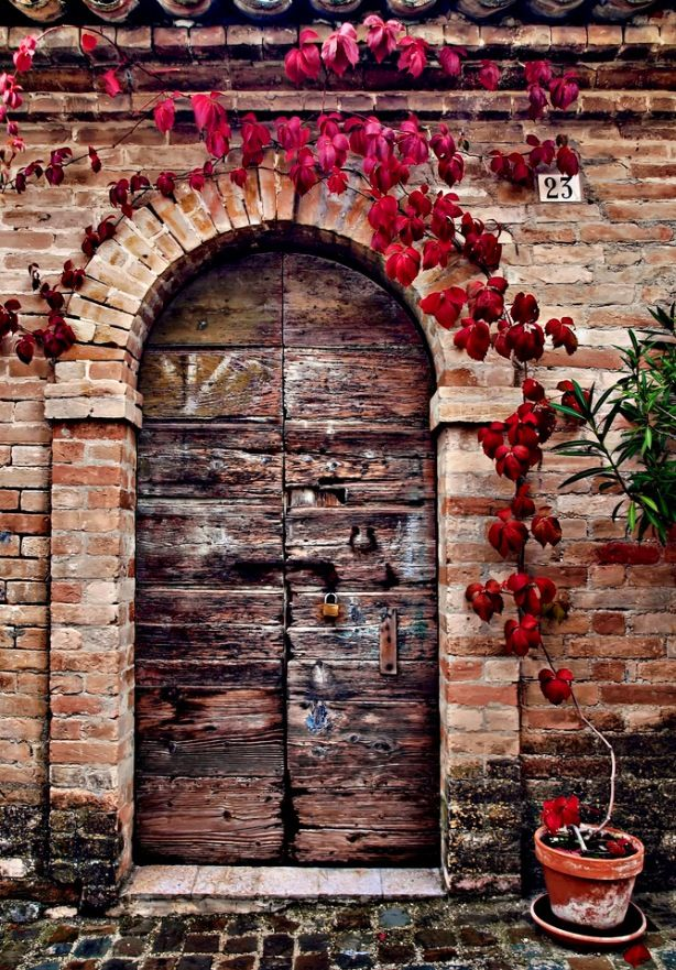 Grottazzolina, Marche, Italy.  This style door and wall would look great with the cobblestone pathway all around the perimeter of my Italian Style Farm House. The wall could be an enclosure for my garden and/or pool area....One day...