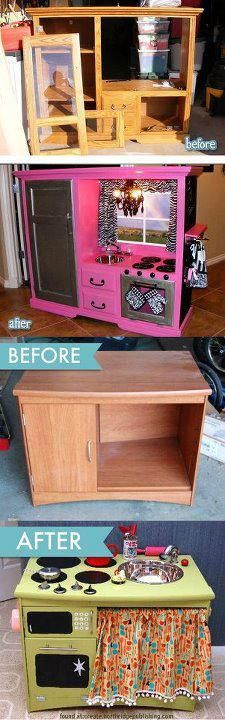 re-purposing furniture for kids. I just love this idea! And I absolutely love the hot pick and zebra print kitchen!! It even has a little chandelier!!