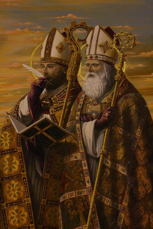 Painting of St. Ambrose and St. Augustine in the lower chapel in the Shrine of St. Anne de Beaupre, Quebec