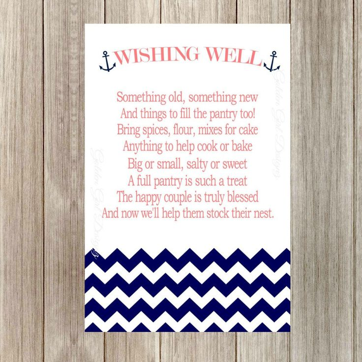 INSTANT UPLOAD Wishing Well Printable Cards with Anchor Nautical Bridal Shower Cards Stock the Pantry Wishing Well Cards Recipe Cards by GoldenGirlDesignz on Etsy