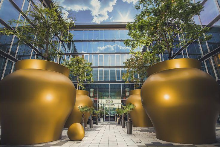 Huge Vases in the inner courtyard at the kameha grand hotel in Bonn, Germany