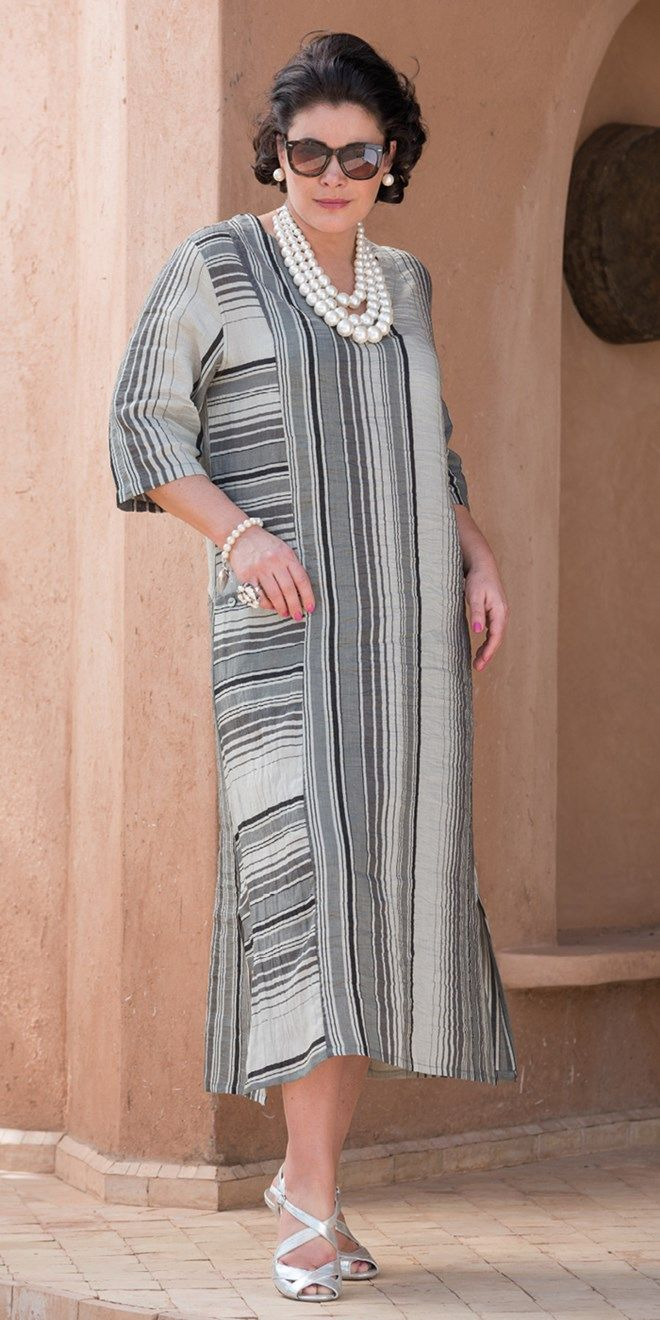 Kasbah+grey+linen+striped+dress