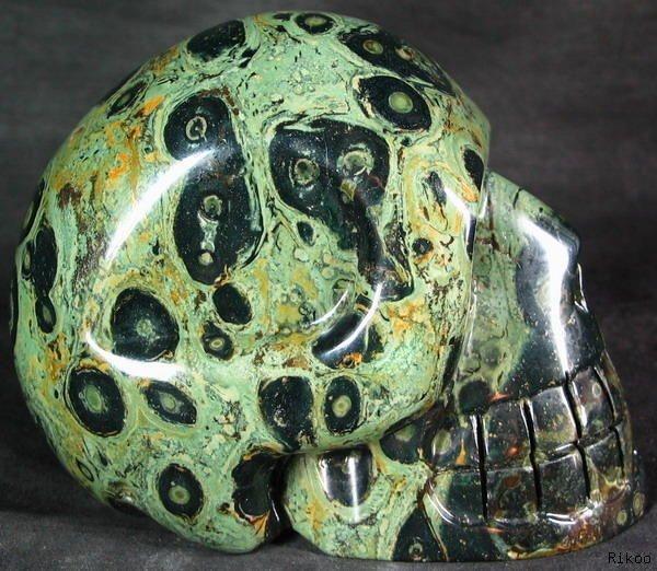 ✿ Kambaba Jasper Carved Stone Crystal Skull ✿