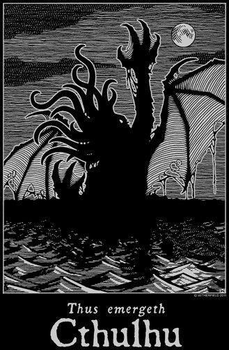 THUS EMERGETH CTHULHU T-Shirt Lovecraft Dagon Nyarlathotep R'lyeh Necronomicon #Unbranded #BasicTee