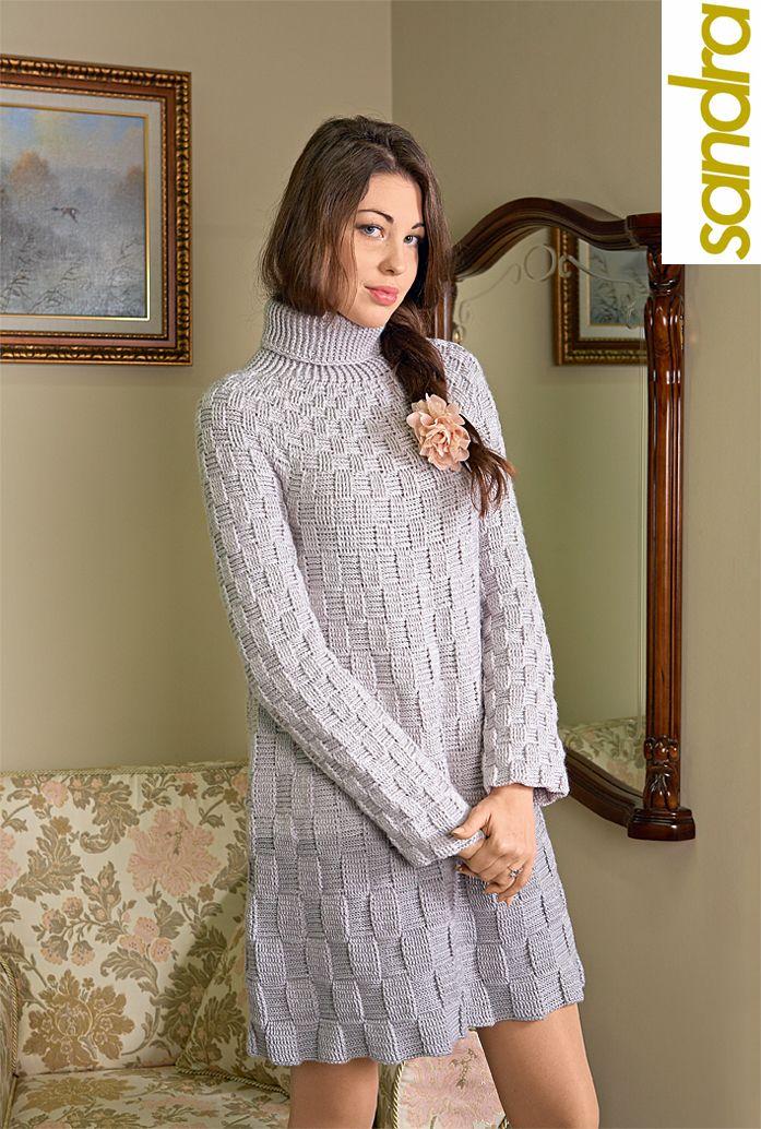 Серое платье из пряжи Merino (Vita)