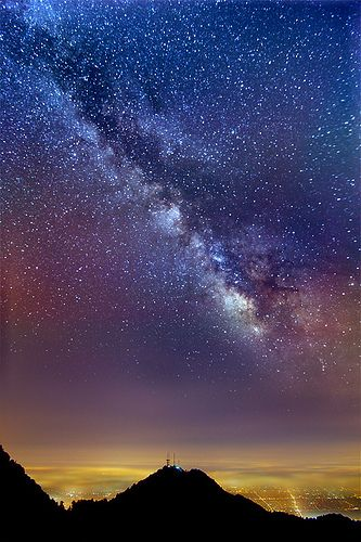 Milky Way vs. City Lights – Mount Wilson on a moonless night, the Milky Way is faintly visible over Los Angeles