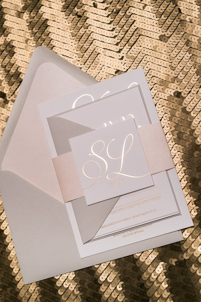 MATTHEW Suite Romantic Package, blush and grey, neutral wedding invitations, rose gold foil stamping
