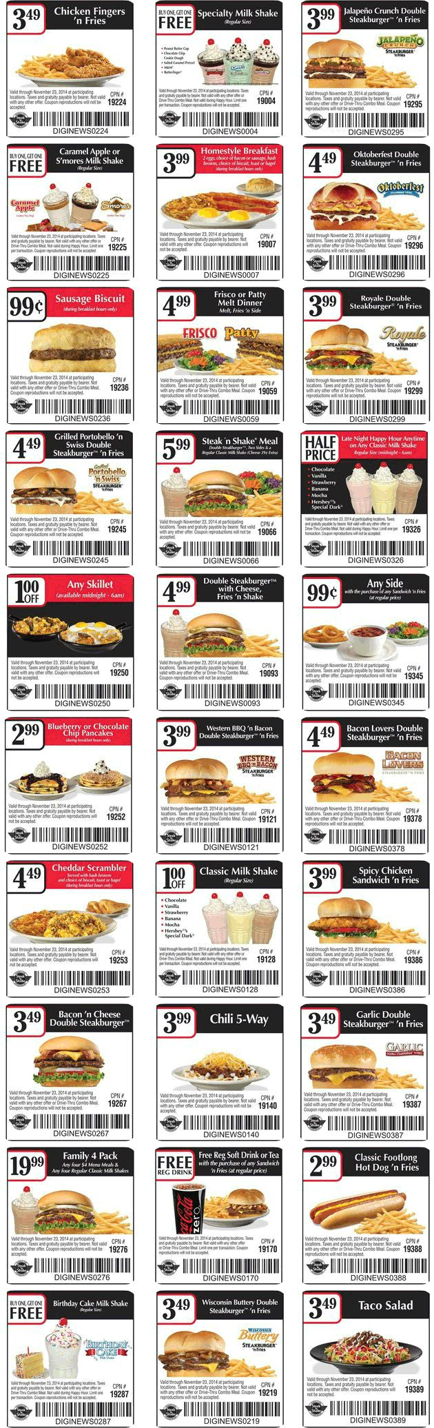 Pinned October 15th: Second shake free & more at #Steak N Shake #coupon via The #Coupons App