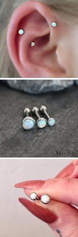 Cartilage Ear Piercing Ideas Triple Forward Helix ideas opal earring studs para perforar orejas - mybodiart.com
