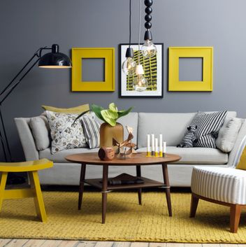 how to decorate a grey room nice. But I think I would replace the yellow with cyan or magenta