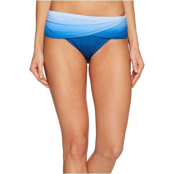 Bleu Rod Beattie Hola Ombre Sarong Hipster Bikini Bottom (Monaco Blue)... (75 CAD) ❤ liked on Polyvore featuring swimwear, bikinis, bikini bottoms, hipster bikini, scrunch bikini bottoms, scrunch bottom bikini, swim tops and tankini tops