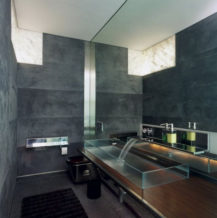 Contemporary Bathroom Design with Black Wall Paint Color and ...