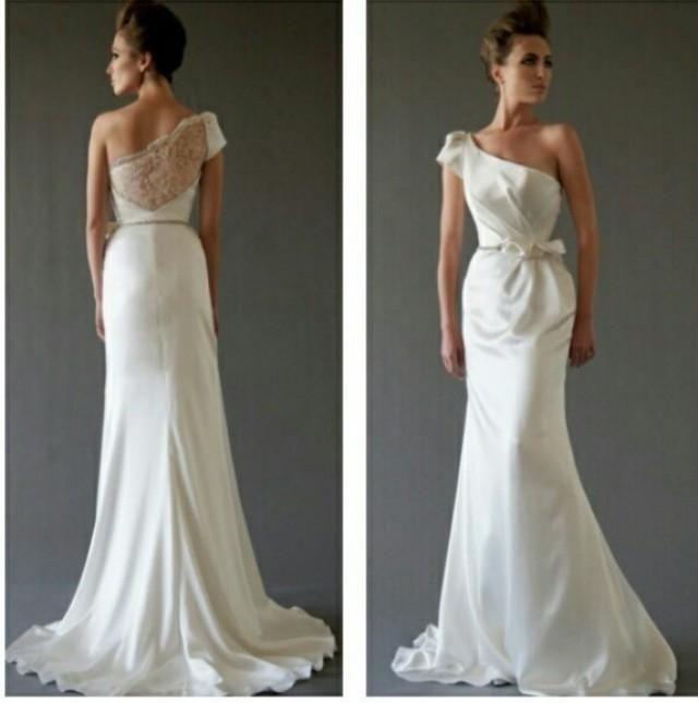 2015 Spring Beach Greek Goddess Wedding Dress Open Back: Best 25+ One Shoulder Wedding Dress Ideas On Pinterest