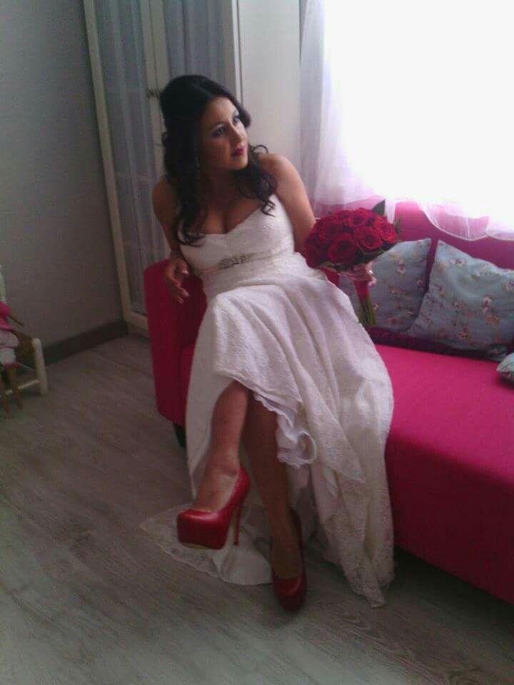 Novia zapatos rojos