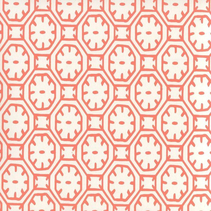 China Seas Ceylon Batik wallpaper in Orange on Almost White (8150WP-07). We sell…