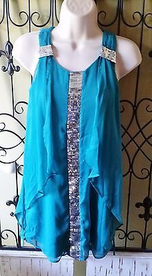 another great find at #ccsboutique www.everythingforchildren.net Girls 2 HIP aqua party dress 12 silver sequins ruffle dance bridesmaid beach