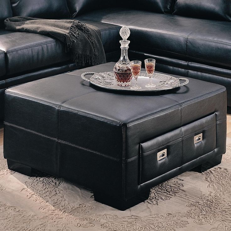 sebastian leather ottoman with storage drawer lowest
