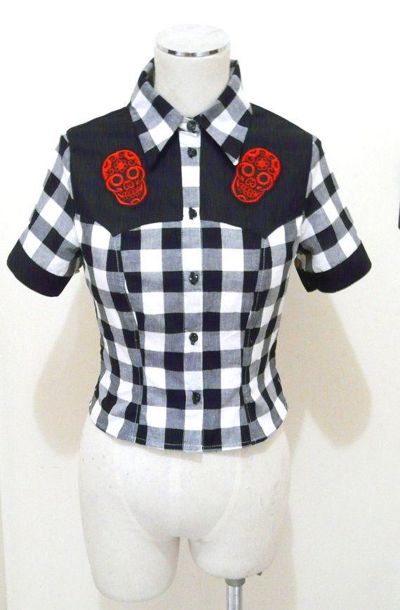 Sugar Skull Top Women's Rockabilly Shirt Western by BettieDreadful, $59.95