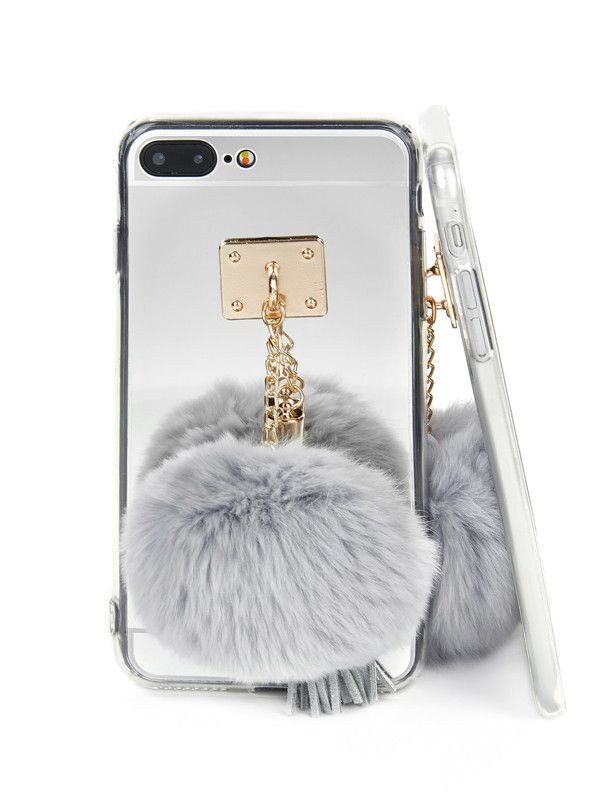 339728aa8c Mirror iPhone Case With Pom -SheIn(Sheinside) | Make Your Statement ...