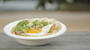 Spicy Pork and Egg Tortilla with Avocado Salsa