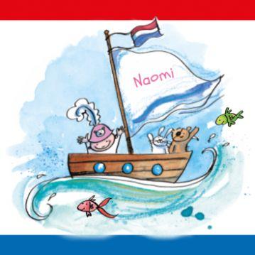 Geboortekaartje met baby piraat in bootje op zee en hollands vlag. Dit piraten geboortekaartje voor een meisje kun je zelf maken.