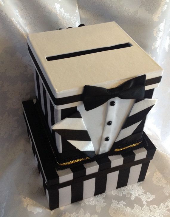 Black tie card box black tie baby shower by Thatssolovely on Etsy