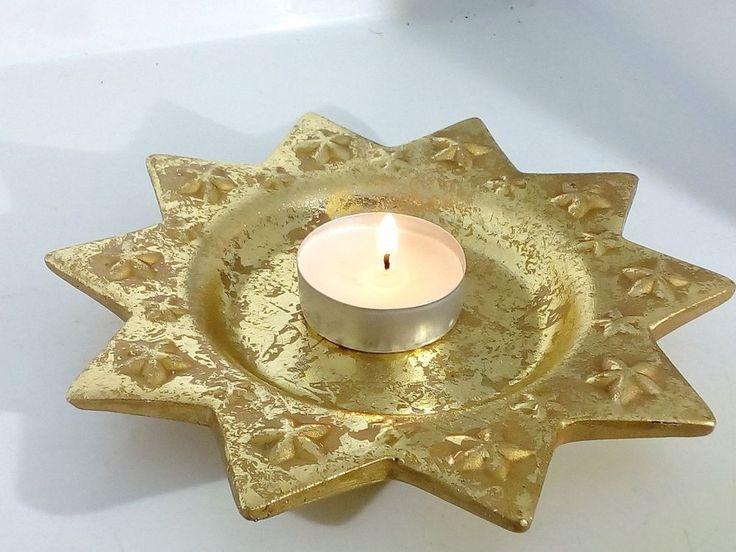 Decorazione tavola Natalizia Stella Di Natale Piatto Oro Porta Candele Addobbo Tavola 4 pezzi Decorazione