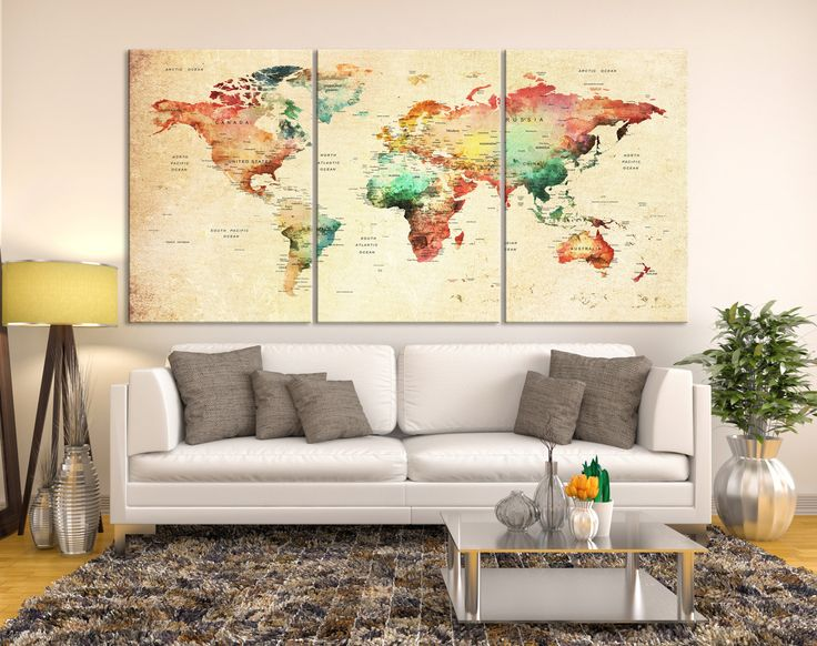 Mejores 25 imgenes de push pin world map canvas en pinterest mapa push pin world map canvas print grunge wall art watercolor world map canvas print gumiabroncs Image collections