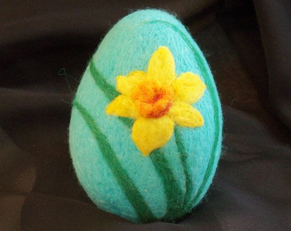 Large Needle Felted Easter Egg  daffodil by syodercrafts on Etsy