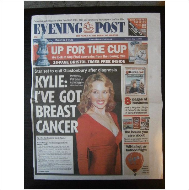 Kylie Minogue. Ive got breast cancer 2 page clippings feature Evening Post