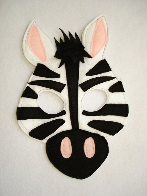 Children's ZEBRA Felt Animal Mask:
