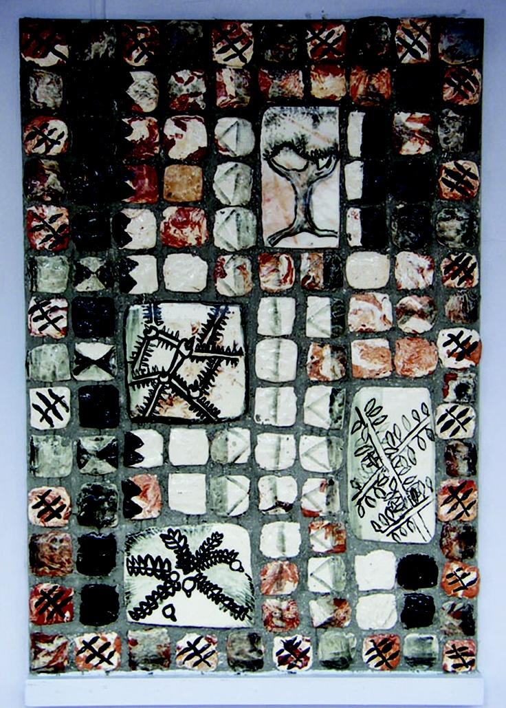 Auckland NZ Pt Chevalier School kids: Series Totora Tapa - Hand made clay tiles