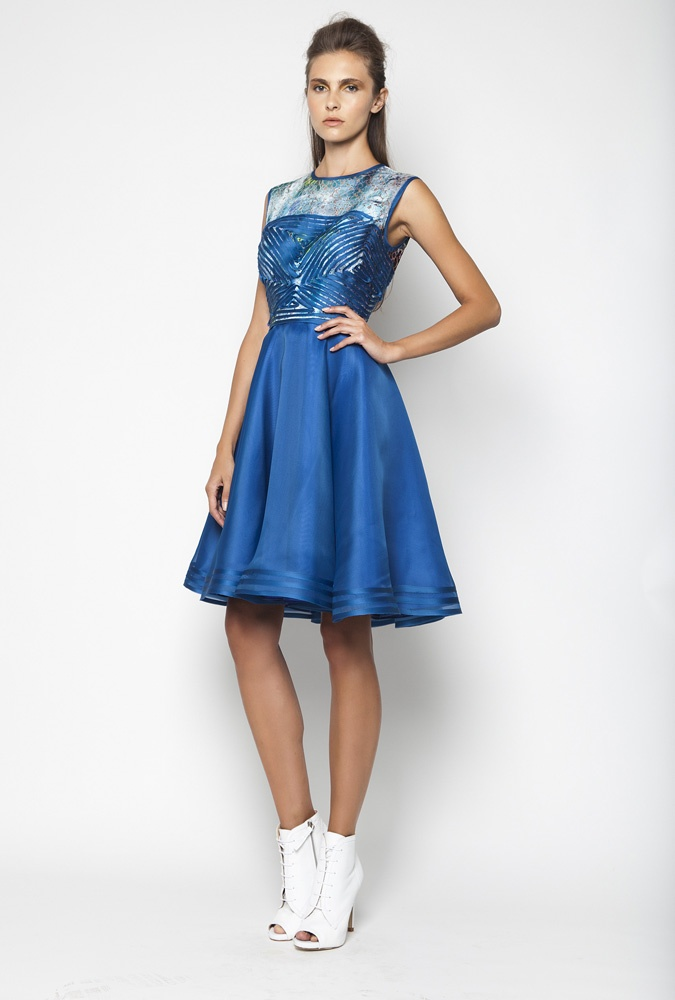 CHRISTOS COSTARELLOS SS12 Silk Organza, Cotton Lace Up To The Knee Dress