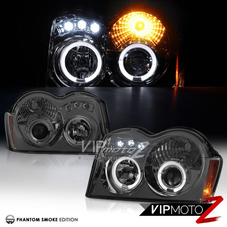 "2005-2007 Jeep Grand Cherokee WK ""SMOKE"" Angel Eye Projector LED Headlight LH+RH 