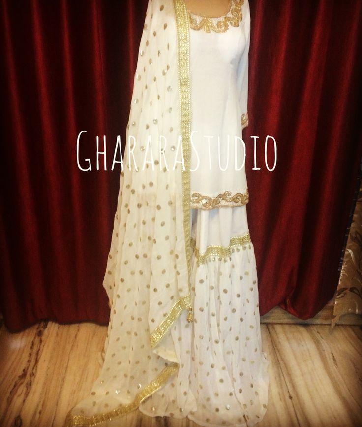 Georgette Gharara in White & Golden combination. #gharara #ghararastudio…