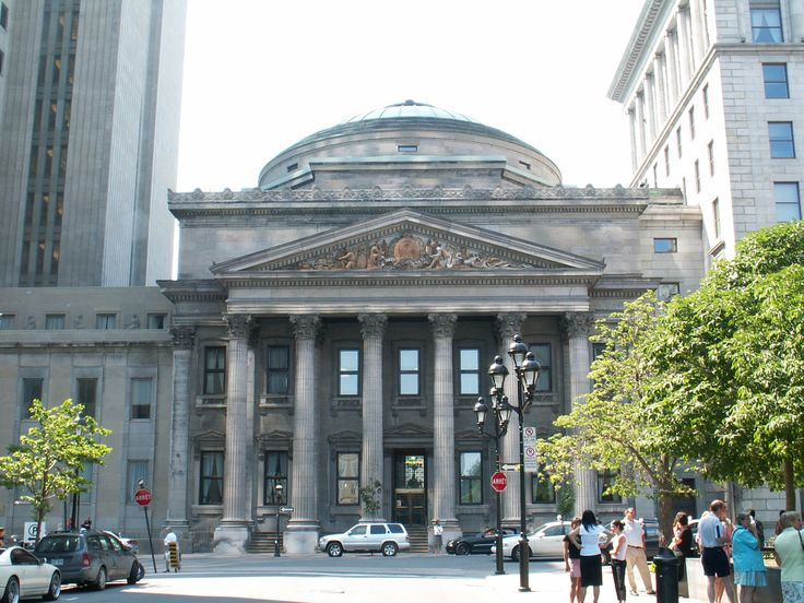 The Bank of Montreal's Head Office is located on Saint Jacques Street in Montreal, Quebec, Canada, across the Place d'Armes from Notre-Dame de Montréal Basilica. The Bank of Montreal is the oldest bank in Canada, founded in 1817.  The centrepiece of the complex is the Bank's Montreal Main Branch, a Pantheon-like building built by John Wells in 1847.