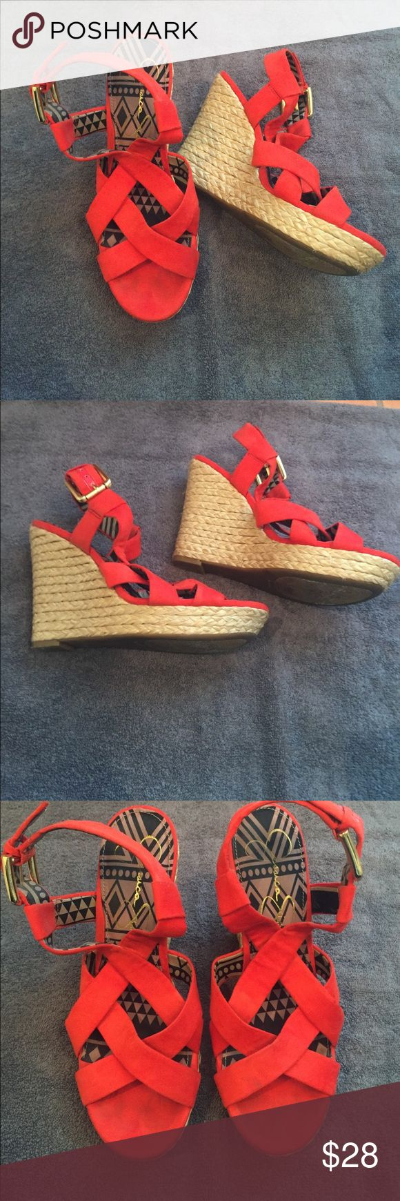 Jessica Simpson Coral/Red Wedge Super comfy! Only wore 3 times. Jessica Simpson Shoes Wedges