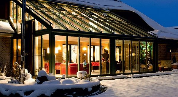 verglaste Terrassen hausbeleuchtung schnee idee