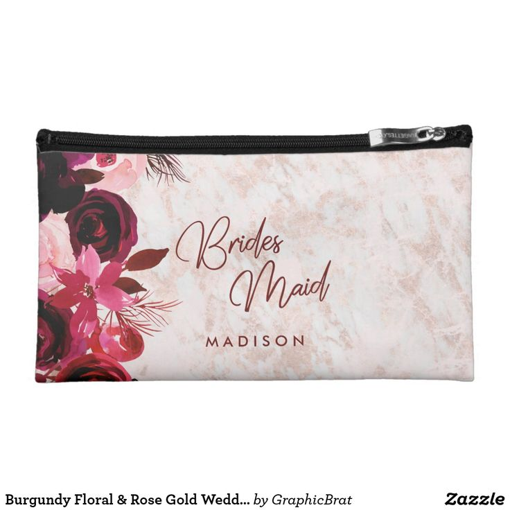 Burgundy Floral & Rose Gold Wedding Bridesmaid Makeup Bag Burgundy Floral & Rose Gold Marbled Elegant Winter Wedding Bridesmaid Makeup Bag With trendy Hand Lettered Script font! ~ Check my shop to see the entire wedding collection with this design! #weddings