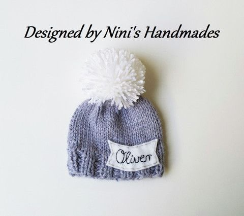 Chunky Personalized and CUSTOMIZED Grey Pom Pom Hat with Kursiv Name of your choice, Baby to Adult Hats with Name, Made in USA knitted hat #polka dot hat #Bow hat, #etsy #etsyshop #etsy sales #sales #bogo #etsy bogo #kids hats #girls accessories, #newborn photography #pom pom hats #kids and baby #baby hats #newborn hats #preemies #baby outfits #ninishandmades.com #knitted hats
